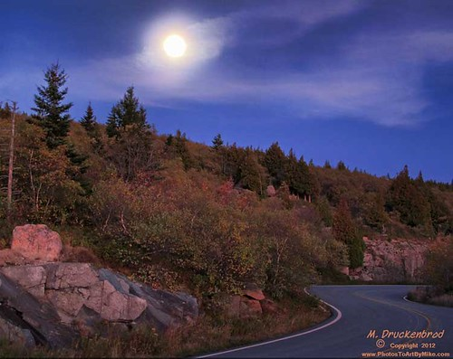 A full moon over Cadillac Mountain, Acadia National Park, Maine
