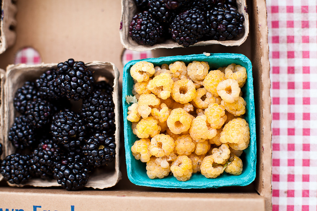 Blackberries and Golden Raspberries at Santa Cruz Market