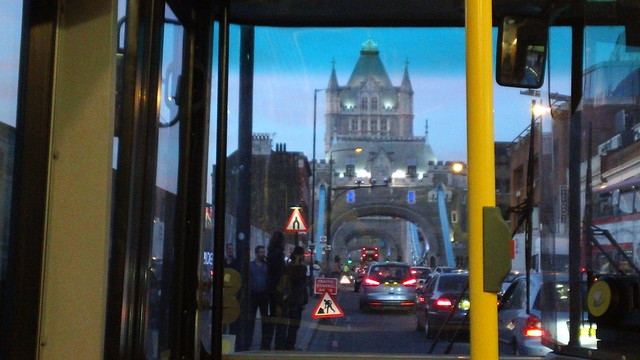 Tower Bridge at sunset from bus