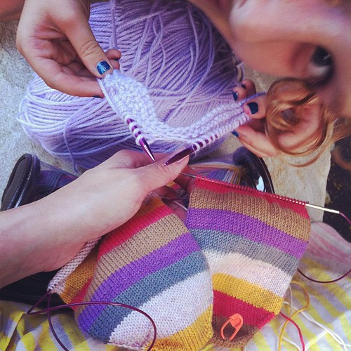 Working on our knitting...