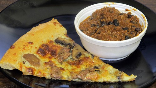 Sausage & mushroom pizza and black bean chili by Coyoty