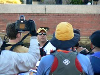 Team River Runner's Jon Forte addresses the participants