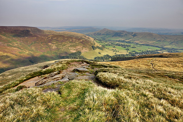 A view of the valley and great ridge including Lose Hill in the Peak District National Park