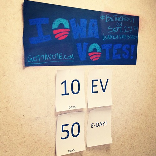 50 days until Nov 6th, 10 days until Iowa votes. #BeTheFirst on Sept. 27th! #GottaVoteEarly