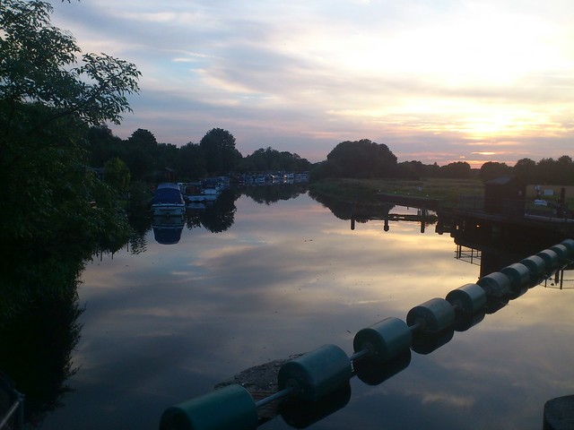 Orton Mere locks at sunset