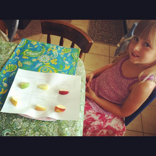 Apple Tasting! (she liked 'em all).  #homeschool