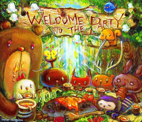 一枚絵37_カブトむーと森のパーティー