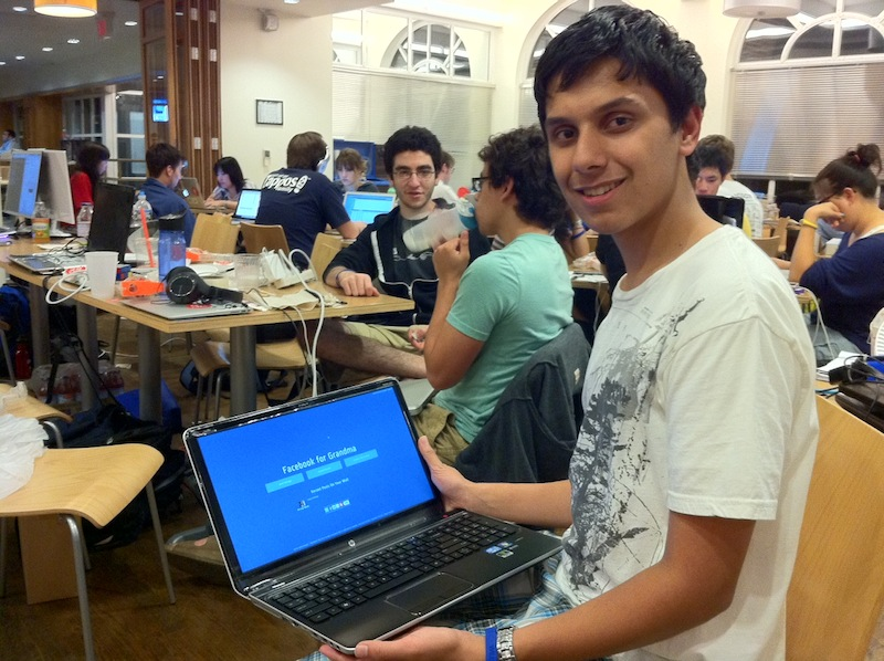 Vivek Panyam with his AddThis-infused Facebook for Grandma app