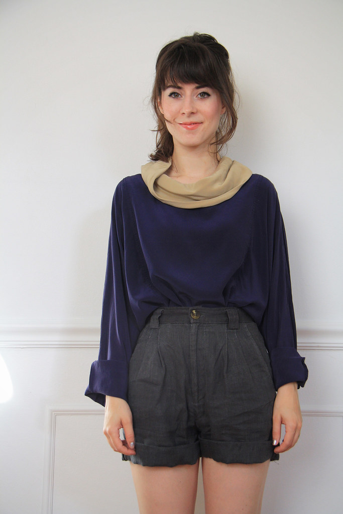 vintage navy silk top