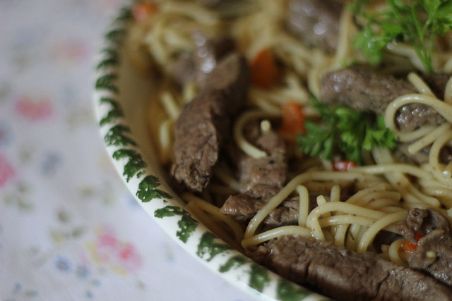 Linguine with Peppery Beef Strips