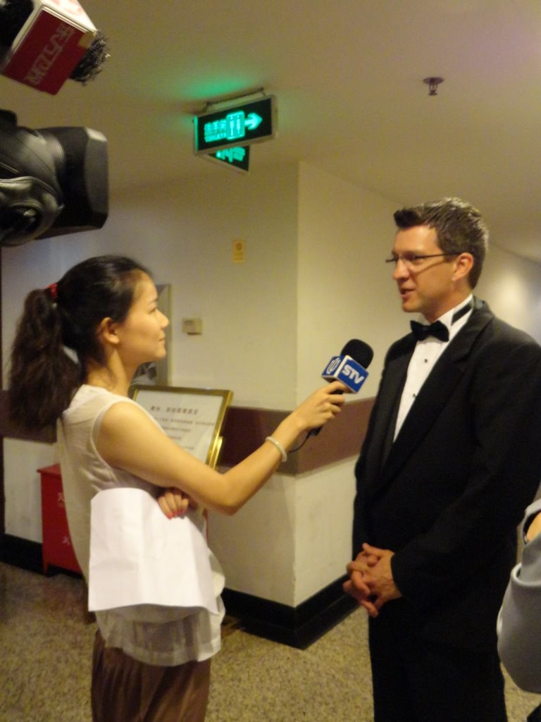 Being interviewed pre-concert Shanghai