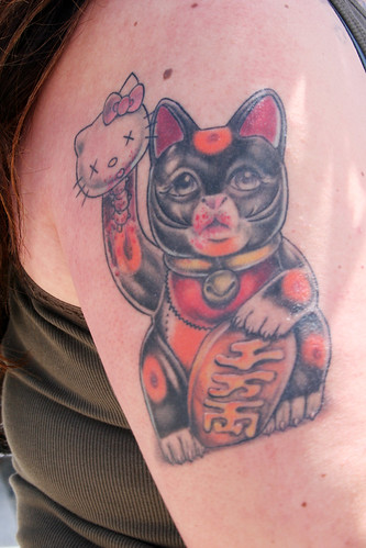 Lucky Cat and Hello Kitty Tattoo