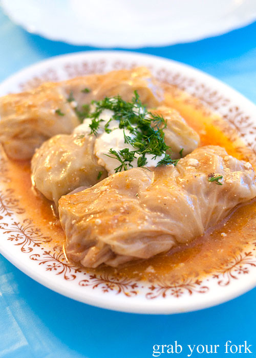 cabbage rolls at Berezka Restaurant, Russian Club, Strathfield