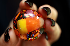 halloween candy corn trick or treat ring handmade resin jewelry by isewcute by isewcute