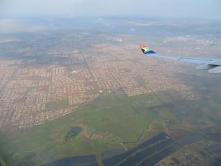 Einflug auf Johannesburg