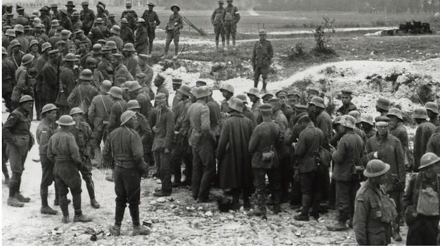 Battle of Hamel  - German POWs gathered near Corbie, 4th July 1918 (detail view)