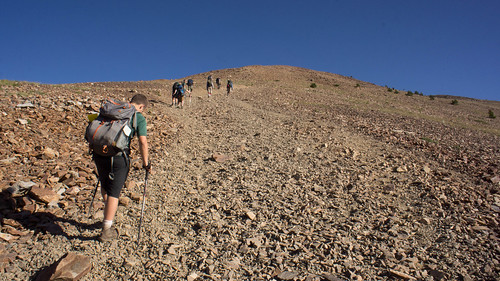 Crossing the rock field as we finish our ascent