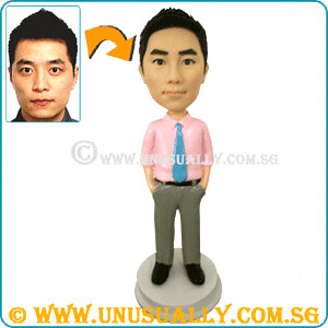 Personalized 3D Male In Pink Shirt Figurine - © www.unusually.com.sg