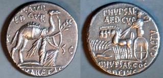 58BC 422/1b M.SCAVR P.HYPSAEVS AED CVR Aemilia, Plautia Denarius. Camel King Aretas REX ARETAS, Jupiter quadriga. Rome. Unusually complete legends