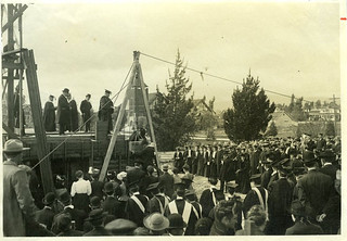 Laying the Carnegie Library cornerstone at Pomona College in 1907
