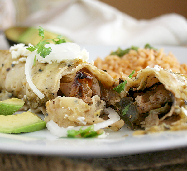 Have it Your Way: Chicken Poblano Enchiladas or Fajitas with Poblano Peppers