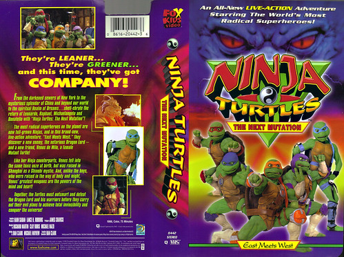 FOX KIDS VIDEO :: NINJA TURTLES: THE NEXT MUTATION - EAST MEETS WEST ..VHS cover (( 1998 ))