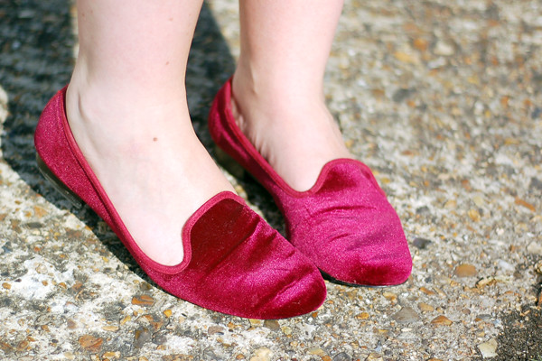 Wardrobeblock : Topshop burgundy velvet loafers slippers eBay second hand