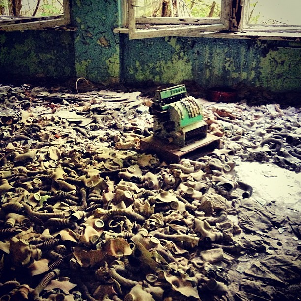Gas masks left at a school cafeteria because it was too late #chernobyl