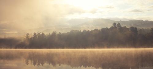mist lake mountains fog forest sunrise dawn woods vermont newengland vt