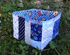 Blue Patchwork Scrap Box by Pretty Flowers in the Window