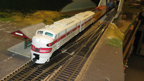 Chicago, Burlington & Quincy Railroad EMD FT cab unit diesels on a 1950's era freight train. by Eddie from Chicago