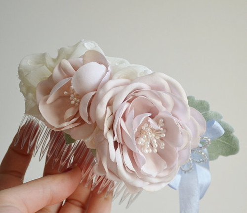 Pearls and Petals Hairpiece by Faylyne