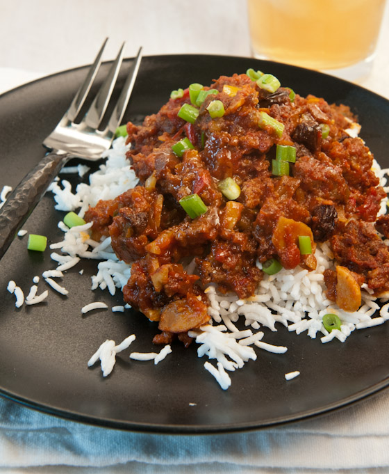 Picadillo served over rice.