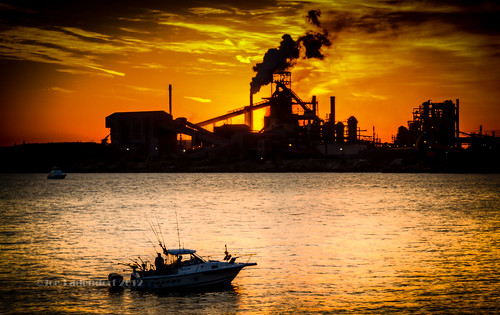 sunrise indiana lakemichigan fishingboat blastfurnace steelmill photographyforrecreation photographyforrecreationeliteclub