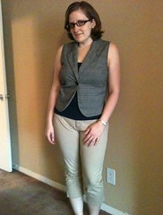 Jacket-to-Vest Refashion and Khaki Capris - After
