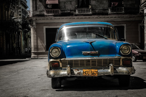 Blue old Havana Car by Rey Cuba