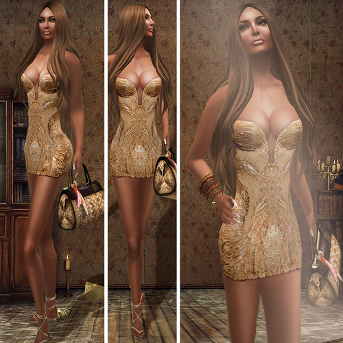 {Meghindo's} ~ Mariah ~ Gold strapless mini ~ / PoSEsioN Set Pose