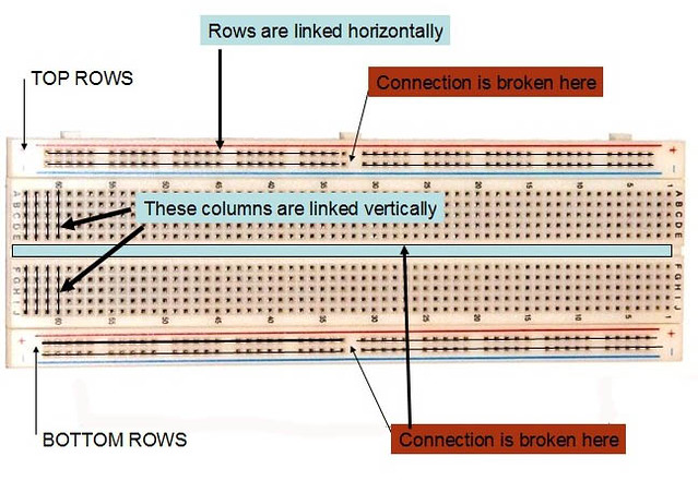 building a circuit on a breadboard buildcircuit electronics rh buildcircuit com breadboard circuit diagrams Breadboard Explained