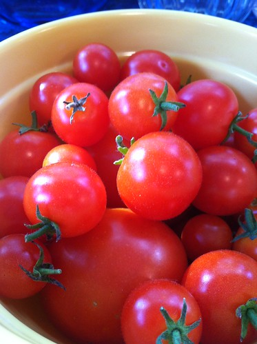 cherry tomatoes from our garden
