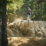 Rock drop on A-Line, Whistler Bike Park