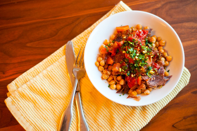 spanish pork braise with saffron chickpeas