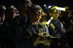 Sailors participate in firefighting drills on the flight deck of USS Nimitz.