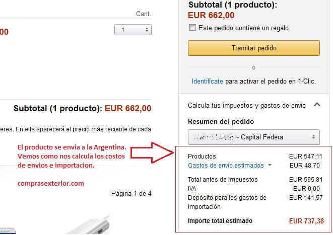 figuran los costos de envio a la argentina el producto se envia