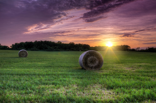 sunset sky field grass landscape illinois open country sunburst prairie hayrolls hdr topaz photomatix homerglen willcounty briankoprowski bkoprowski