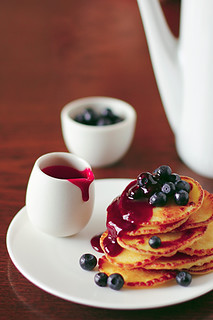 Pancakes with berries and sauce