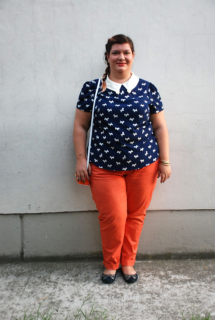 Orange and blue outfit