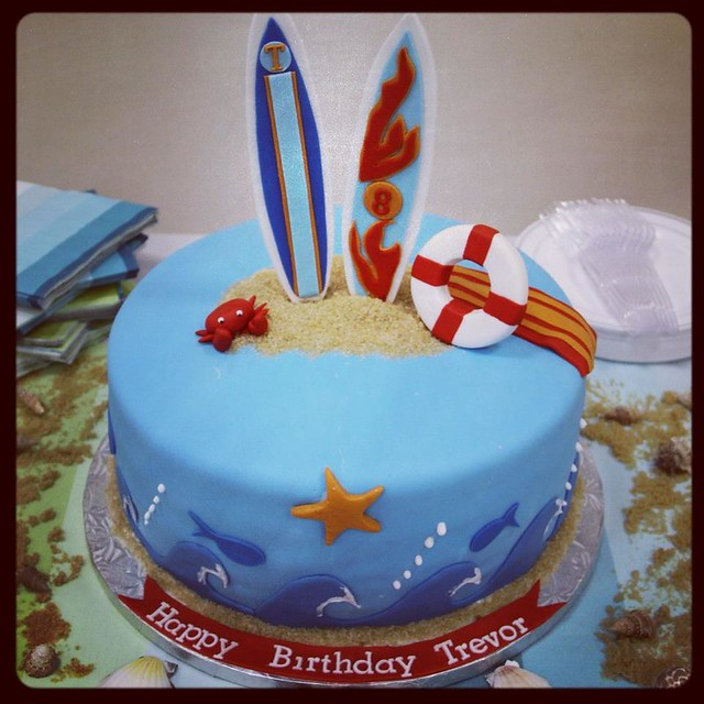 Surf Birthday Cake Designs For A Square Cake