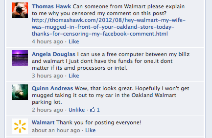 Walmart censors my comment asking them why they censored my comment
