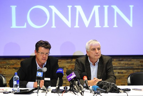 Mark Munroe (L), executive vice president for mining at Lonmin, the world's third-largest platinum mining company, speaks alongside Lonmin chief financial officer Simon Scott during a press conference on August 20, 2012, in Marikana. by Pan-African News Wire File Photos