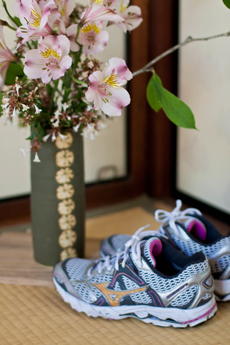 Mizuno running shoes at Shofuso House